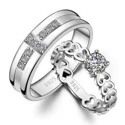couples ring sets his hers matching sterling silver cz rings set yoyoon 7866