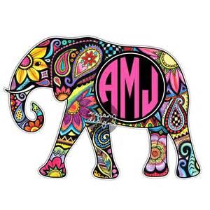 custom monogram elephant sticker colorful design cute car monogram wall decals monogram wall stickers amp wall peels