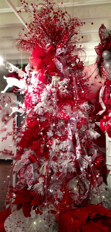 red and white whimsical christmas tree holidays pinterest