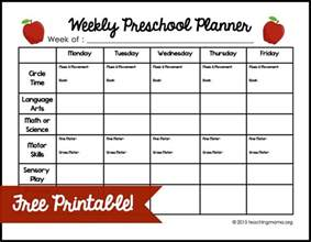 Weekly Lesson Plan Template Preschool by Weekly Lesson Plan Template For Preschool Teacherplanet