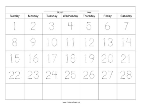 28 day calendar template printable handwriting calendar 28 day sunday