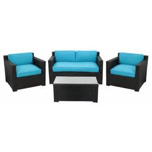 Patio Loveseat Clearance 4 Piece Black Resin Wicker Outdoor Patio Furniture Set