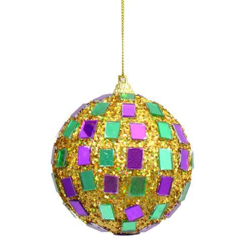 mardi gras disco ball ornaments set of 3 zj102