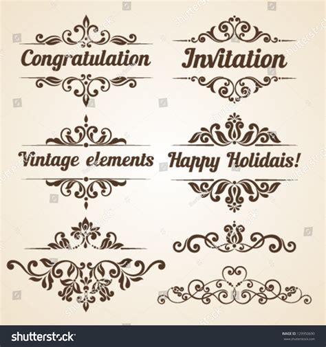 wedding invitation ornaments vector set vintage ornaments floral elements invitation stock vector 129950690