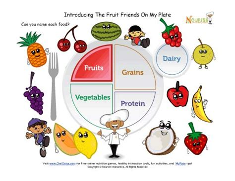printable myplate fruits learning sheet