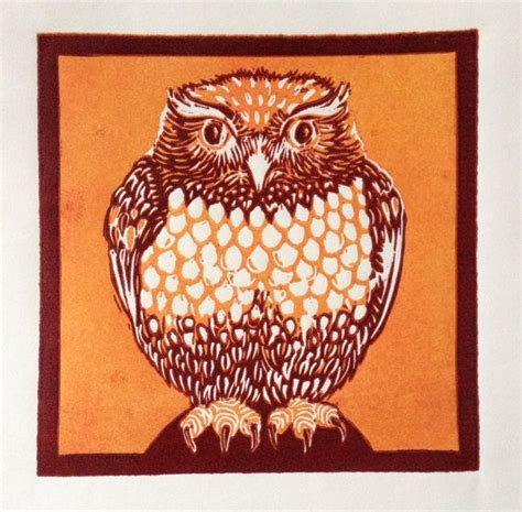 Painting 15x15cm Owl owl reduction lino print in orange and by lisamurphyart