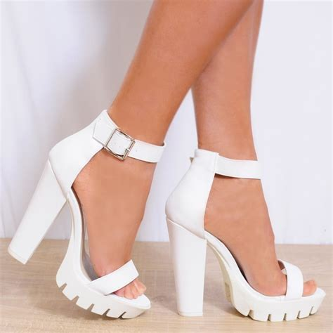 High Heel by White Faux Leather Ankle Strappy Open Toe Block High Heel