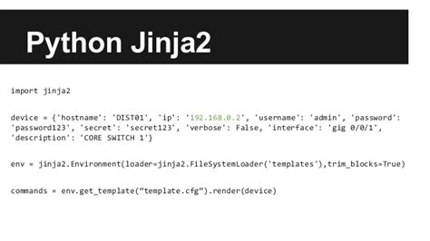 jinja2 template python for the network
