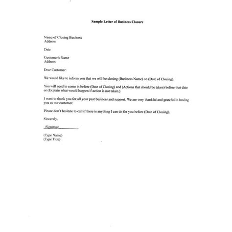 Business Letter Template Closing Free Sle Letter Of Business Closure For Your Partners