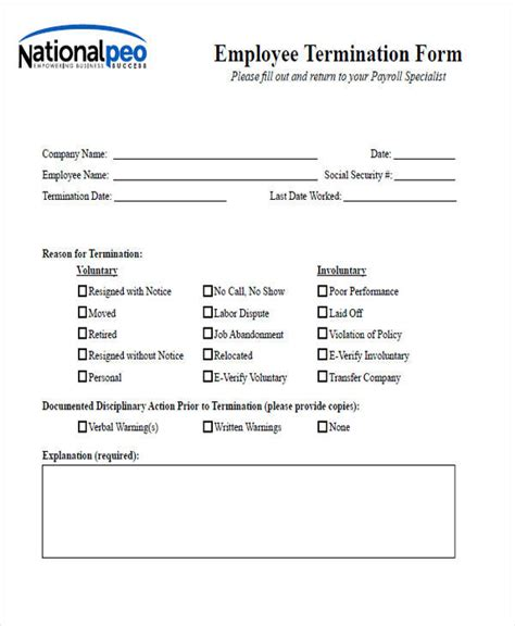 employee termination form template www imgkid com the