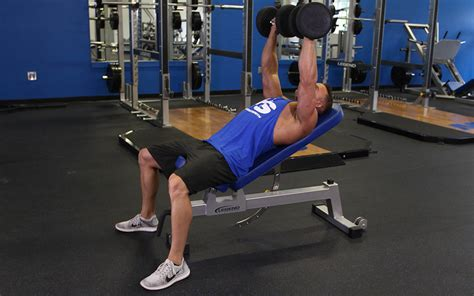 bench press db incline dumbbell bench press video exercise guide tips