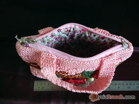 Rajut Pink jual flowery handbag rajut pink tas rajut motif bunga cantik alycia brooch