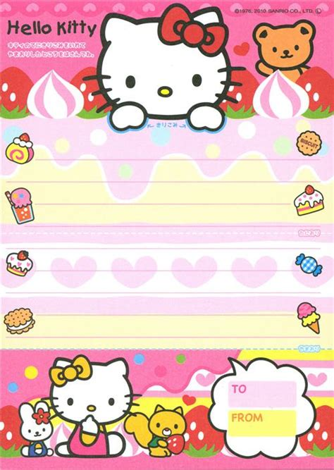 printable hello kitty notebook paper mini memo pad 500 215 704 papel carta pinterest hello