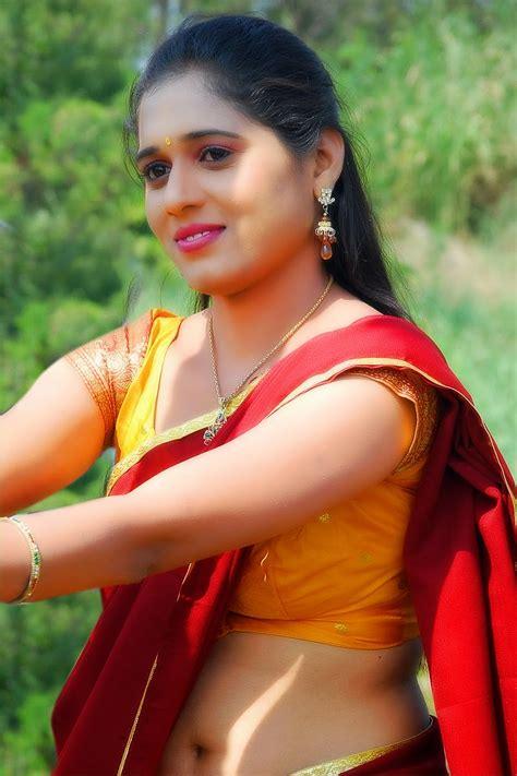 old actress pallavi hot images geetha pallavi hot navel in red half saree south actress