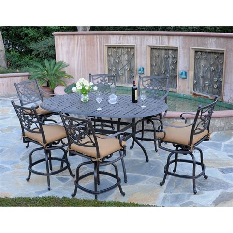 Bar Height Patio Furniture Set Meadow Decor Kingston 72 In Counter Height Patio Dining Set Seats 6 Patio Dining Sets At