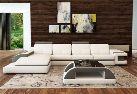 White And Grey Leather Sofa Divani Casa 6122c Modern White And Grey Bonded Leather Sectional Sofa