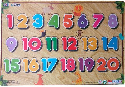 puzzle sticker angka 1 20 mainan kayu