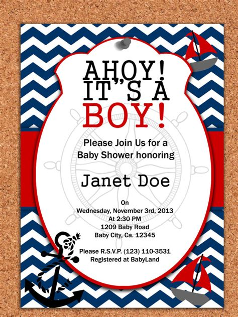 printable nautical invitation template printable invitation nautical baby shower by atomdesign on