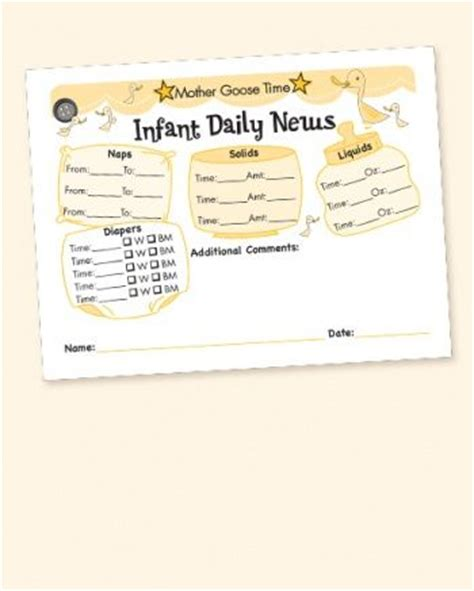 Infant Daily Sheet Template by Infant Daily News Printed 4 To A Sheet For New Infant In