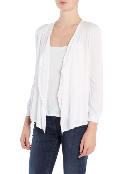 white drape front cardigan michael kors drape front shrug cardigan in white save 51