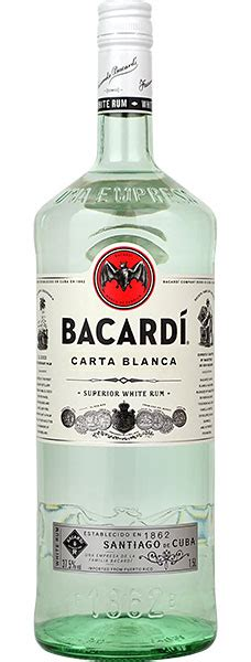 bacardi white rum 1 5 litre upright bottle buy at