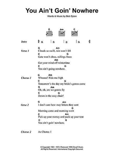 you ain t going nowhere strumming pattern you ain t goin nowhere sheet music by bob dylan lyrics