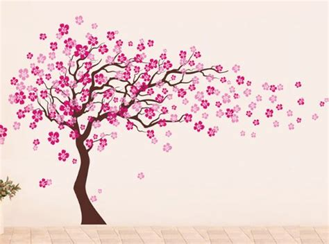 Peacock Wall Sticker funk n beauty with cherry blossom tree graphics funk