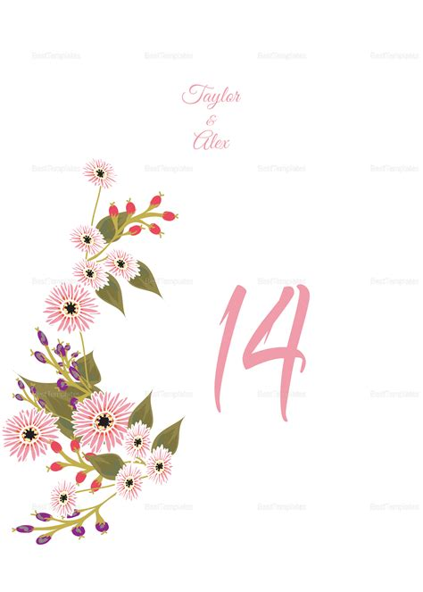table number cards template floral wedding table number card design template in