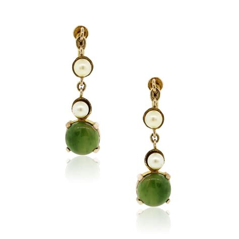 Drop Earring 14k yellow gold jade and pearl drop dangle earrings