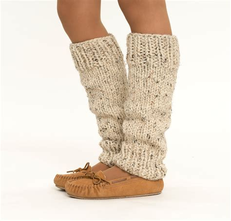 Chunky Knit Wool Leg Warmers Handmade Knitted Ankle