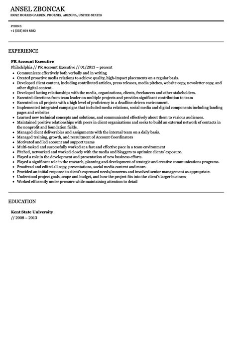 Pr Account Executive Sle Resume by Relations Account Executive Resume Sle Velvet