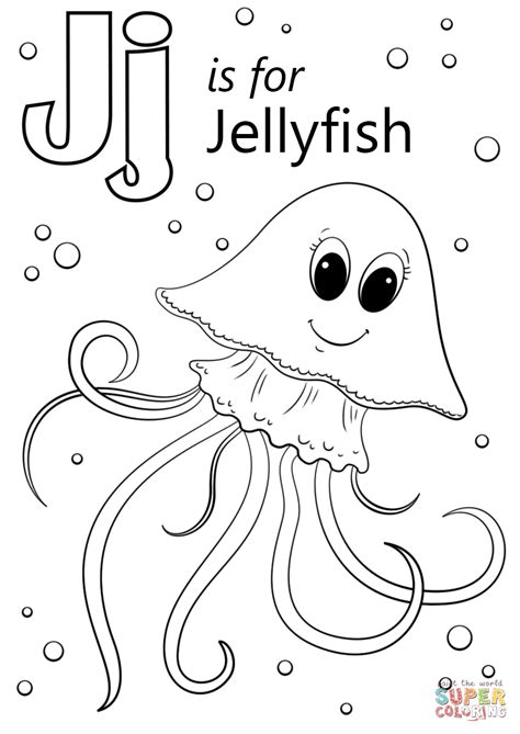 letter j is for jellyfish coloring page free printable