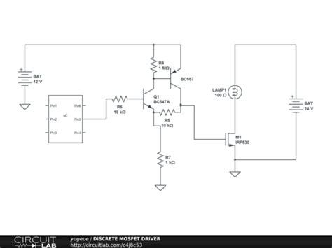 transistor driver circuit design discrete mosfet driver circuitlab