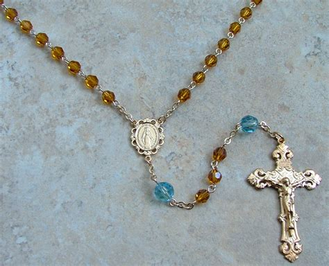 Handmade Rosaries - gold rosary with swarovski rosary for sale