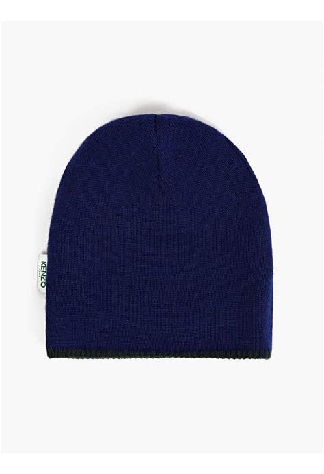 blue pattern hat kenzo men s reversible mountain pattern beanie hat in blue