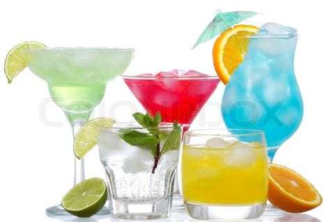 cocktails background cocktails with fruits on a white background stock photo