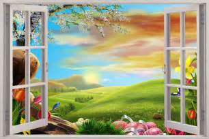 3d wall murals huge 3d window view enchanted meadow wall sticker mural