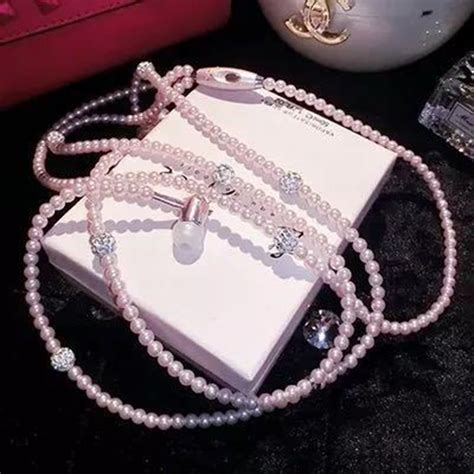 3 5mm Stereo In Ear Headphone Pink jewelry pearl necklace earphones headset stereo 3