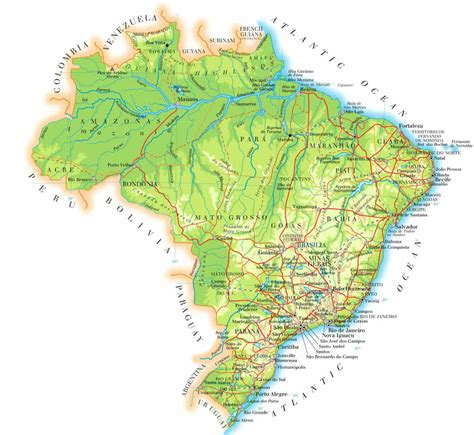 brazil physical map large detailed physical map of brazil brazil large