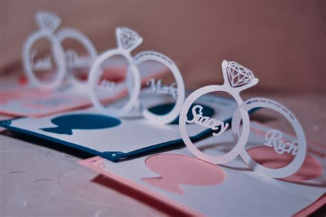 cool pop up card templates wedding invitation linked rings pop up card template