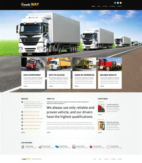 Bright Trucking Joomla Template 45595 Truck Transport Website Templates Free