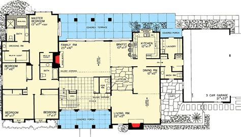 atrium ranch floor plans ranch home with atrium 81086w architectural designs