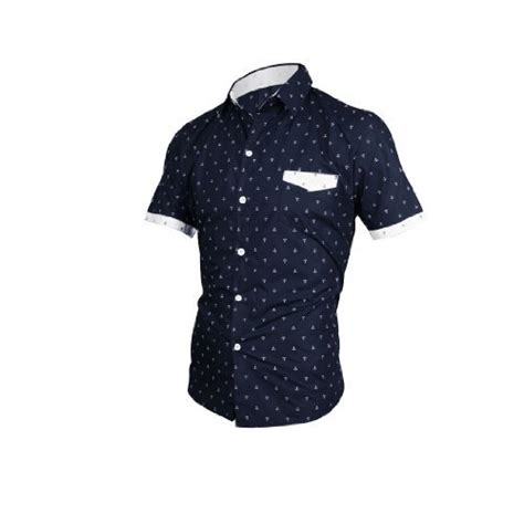 anchor pattern shirt aesthetic official men short sleeve single breasted