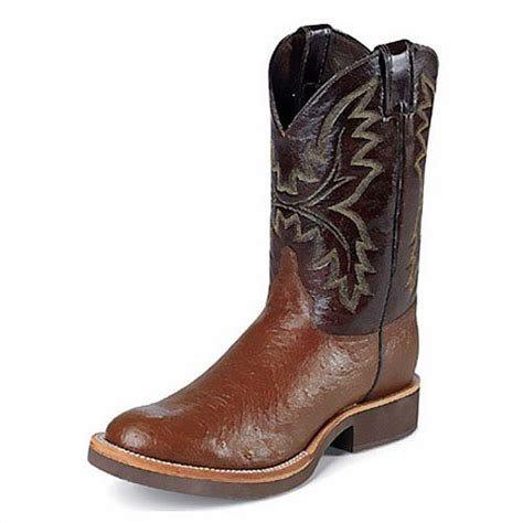 cheap s justin boots cowboyboots brown smooth ostrich