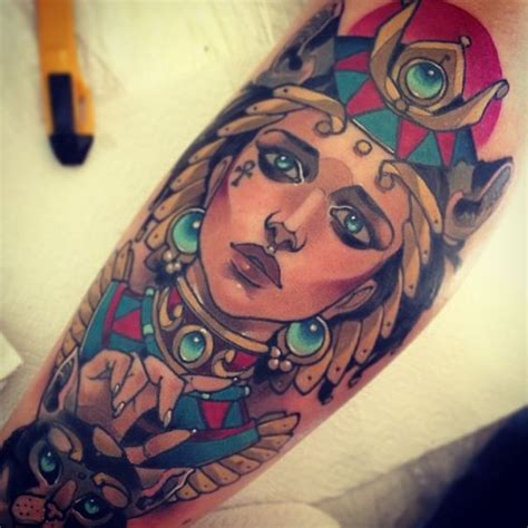 egyptian goddesses tattoos bastet by vitaly morozov