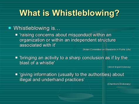 what is a whistle whistleblowing