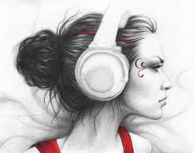Drawing music beautiful girl drawing i love music by olga