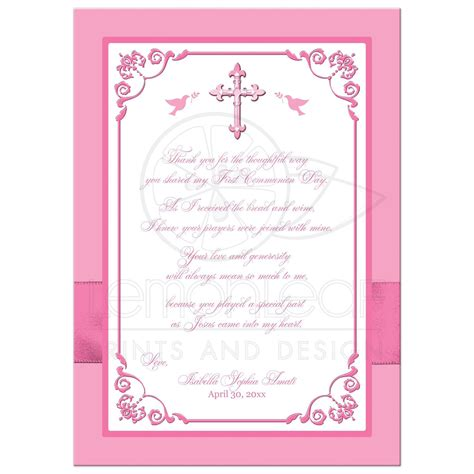 confirmation thank you card template holy communion photo thank you card flat pink