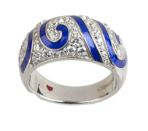 hidalgo diamonique sterling blue enamel swirl domed ring