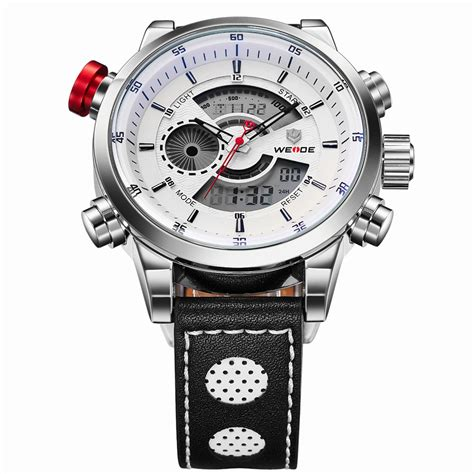 Weide Jam Tangan Sports 30m Water Resistance Wh5203 White weide japan quartz leather sports 30m water resistance wh3401 white silver